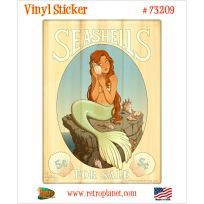 Seashells For Sale Mermaid Vinyl Sticker
