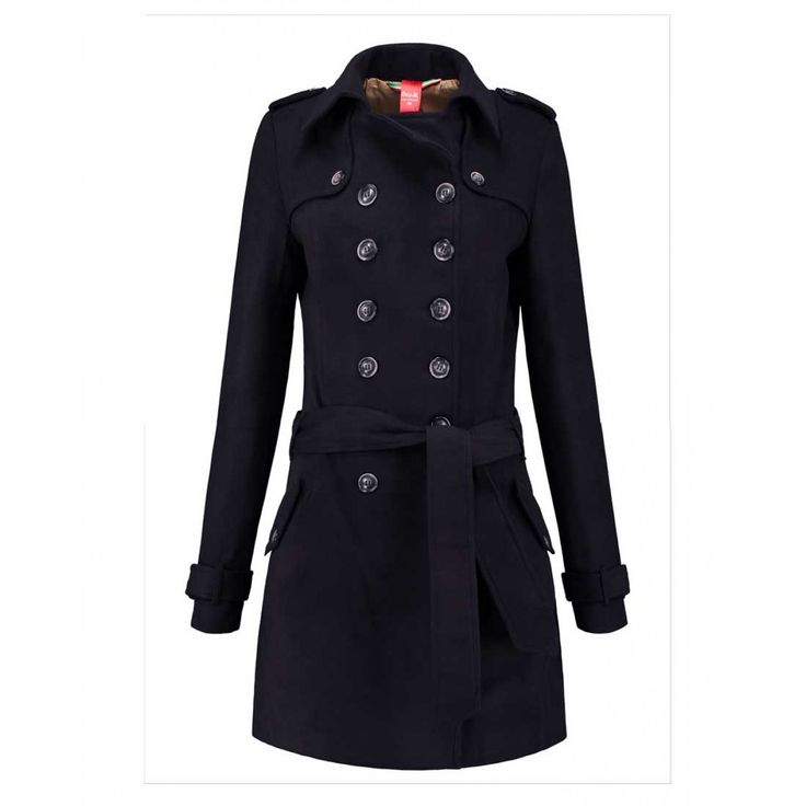 Only-M Trenchcoat lange vrouwen Navy - Longlady