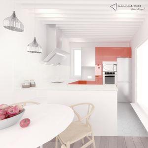 la casa de Pedro, Laura y su perro Pepe - cocina con muebles reaprovechados #cocina #kitchen #blanco #naranja #white #orange #blancoymadera #whiteandwood #techo #ceiling