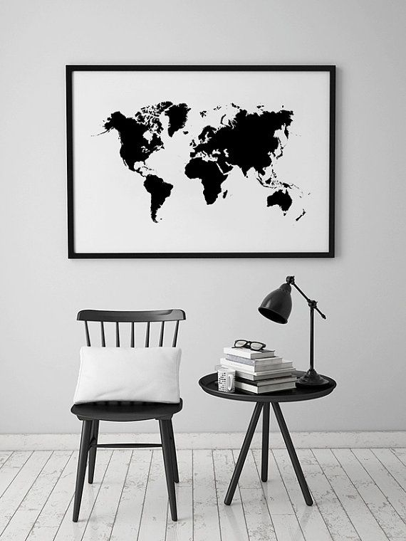 World Map Wall Art, Large World Map, decals. Could frame decals on wall. Paint behind?