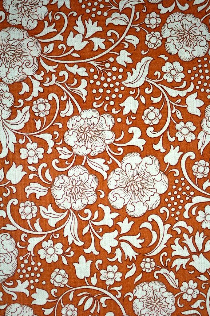 Good Vintage Floral Wallpaper Brown. Original Vintage Floral Wallpaper With  White Flowerpattern On A Brown Background Amazing Design