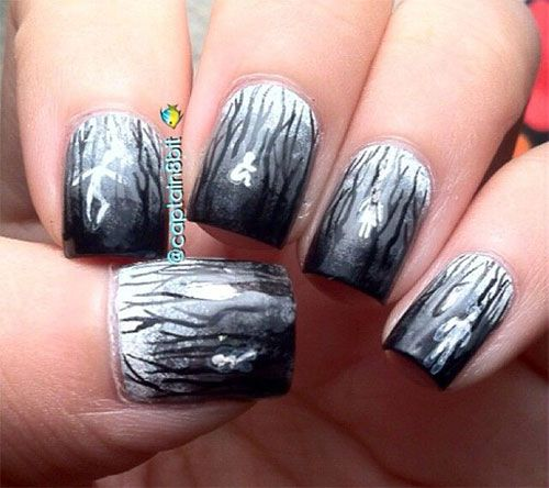 47 best halloween ghost nail art images on pinterest nail halloween ghost nail art designs prinsesfo Gallery