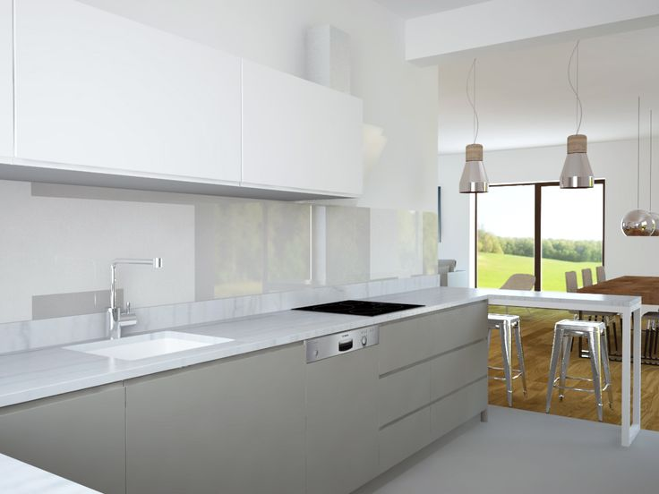 grey&white kitchen with marble top