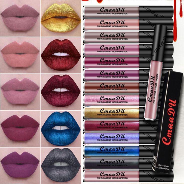 2017 Waterproof Pigment Matte Lipstick Lip Gloss Makeup Cosmetics Cmaadu Matte Liquid Lipstick