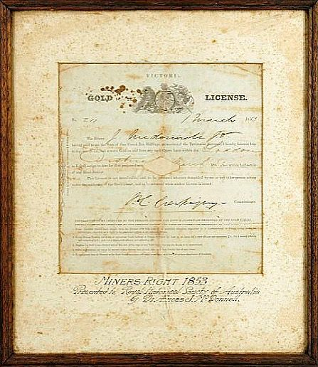 Miner's license for the gold diggings in Australia . 1850's Powerhouse Museum