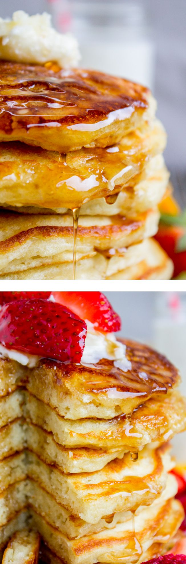 I've been looking for this buttermilk pancake recipe forever! They are fluffy, crispy on the edges, tender in the middle, and completely stackable. Frying them in bacon grease makes them totally irresistible! from The Food Charlatan.: