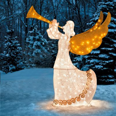 Animated Angel With Horn Christmas Decoration