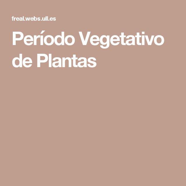 Período Vegetativo de Plantas