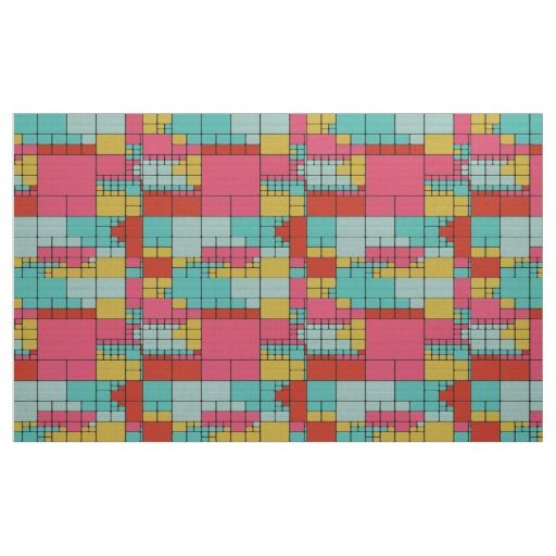 Colorful squares abstract design fabric