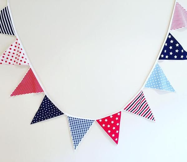 C O L O U R F U L   Stars & Stripes fabric bunting by Mr PoppetsAssorted red, white and blue in stars, checks and polka dots 2m in length, large flags, 24cm long x 18cm wideFabulous party decor and little boys room