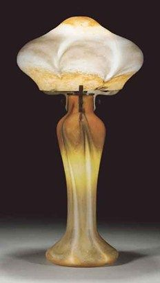 Although expected to bring more, this orange, brown and white lamp with pulled decoration fetched £3000 at CSK's sale of the Ian Turner collection of Monart glass.