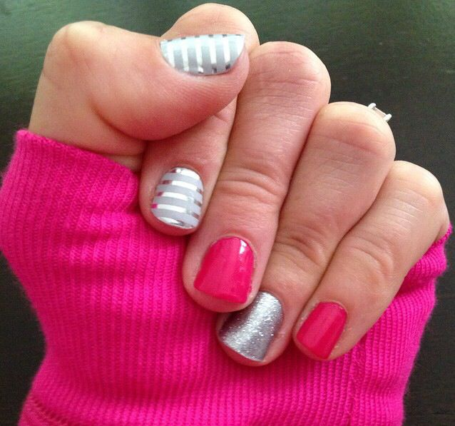 Silver & gray pinstripe, pink, diamond dust sparkle jamberry nails