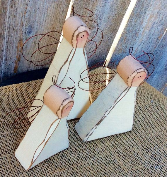 Primitive Angels, Chunky Carved Wood Primitive Angel Trio, Antiqued Angels with…