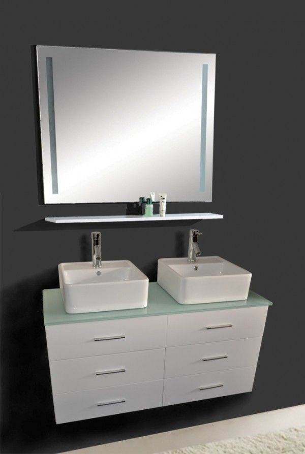 Bathroom,Fascinating Mirror Design Ideas With Wall Mounted Cabinet Granite  Top And Modern White Sink Inspirations,Awesome Double Vessel Sink Vanity ... Good Ideas