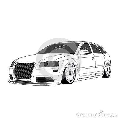 Illustration car with custom body and custom rim