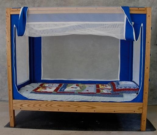 Courtney Bed special needs bed. A safe place to sleep/stim and helps mom and dad rest knowing child is safe.