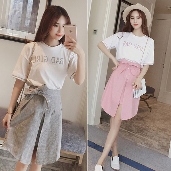 2017 лето новые корейские женщины с короткими рукавами футболки + значительное долговязый талии юбка стильное двухсекционный костюм ученицы