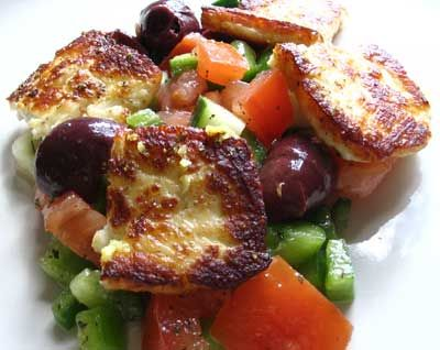Fried Saganaki with Halloumi on a Greek Tomato Salad with Kalamata Olives | Lisa's Kitchen | Vegetarian Recipes | Cooking Hints | Food & Nutrition Articles