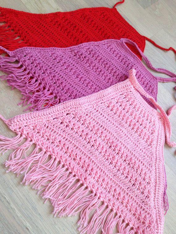 Set of three crochet toddler top/ Red Pink Dark by ElenaVorobey