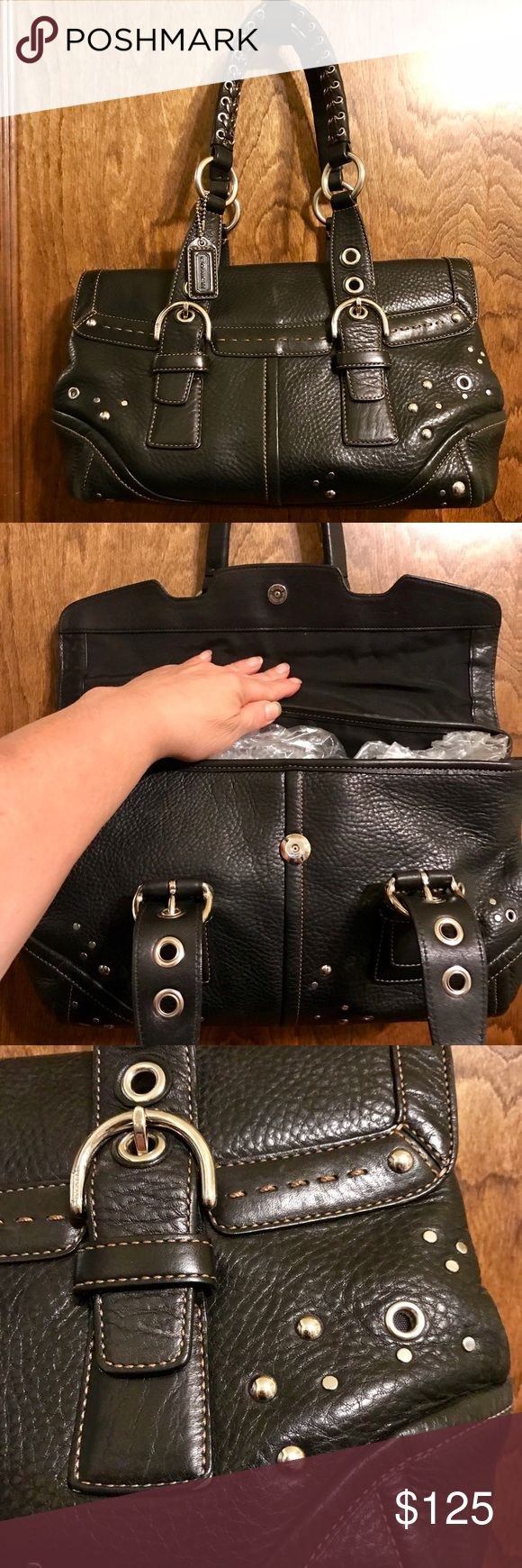 🆕🆒 💥Rare Coach Soho Grommet Bag Purchased from Coach store in Carmel CA. Never seen it anywhere else - ever! 😸 Some wear on one bottom edge o/w pristine. (Inside looks dirty in pic but it isn't - that's the light.) Flap with magnetic closure. One large inner zip pocket and two smaller open ones. Metal feet. Adjustable straps. And it's expandable by opening the side snaps! Well made. Not a lightweight bag. Little Coach logo leather fob included! Comes w dust bag. Thank you! 💋 Style…