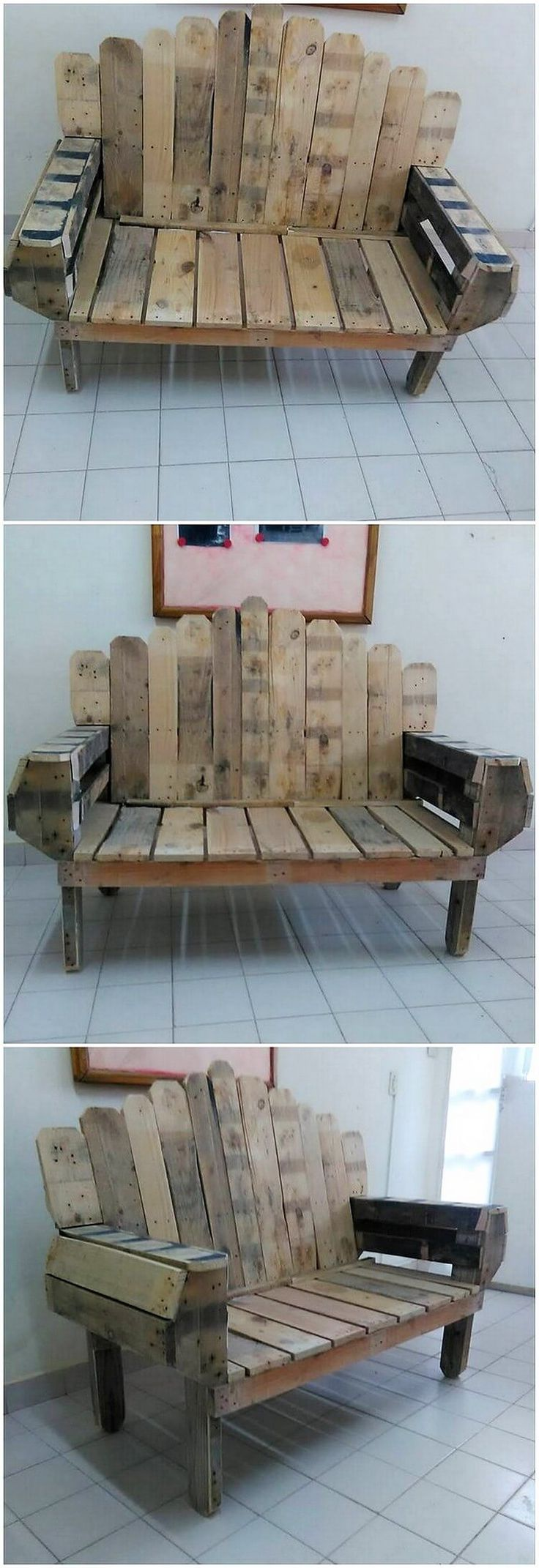 This is much a creatively designed project of the bench or the seat as crafted with the wood pallet. You will be finding it do be all accompanied with the durable and sturdy use of the wood pallet being part of it.