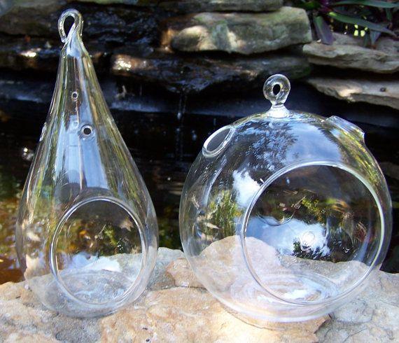 terrarium verre suspendu larme ou jardinage rond l. Black Bedroom Furniture Sets. Home Design Ideas