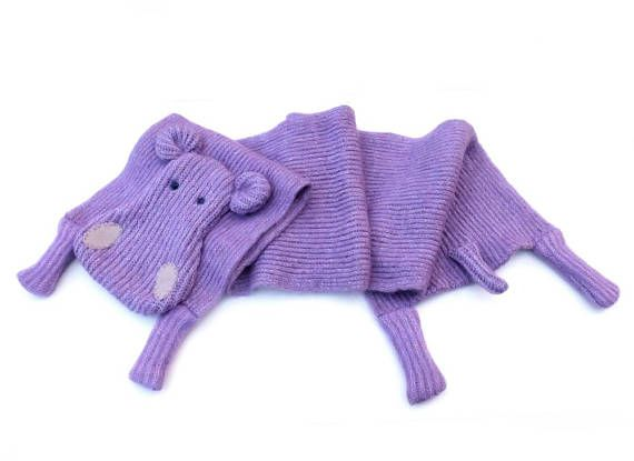 #hipposcarf #animalscarf #woolenscarf #longscarf violet purple