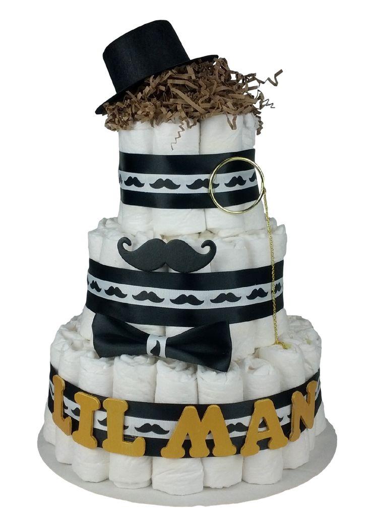 Lil Man Mustache Diaper Cake for Boy | LDDC