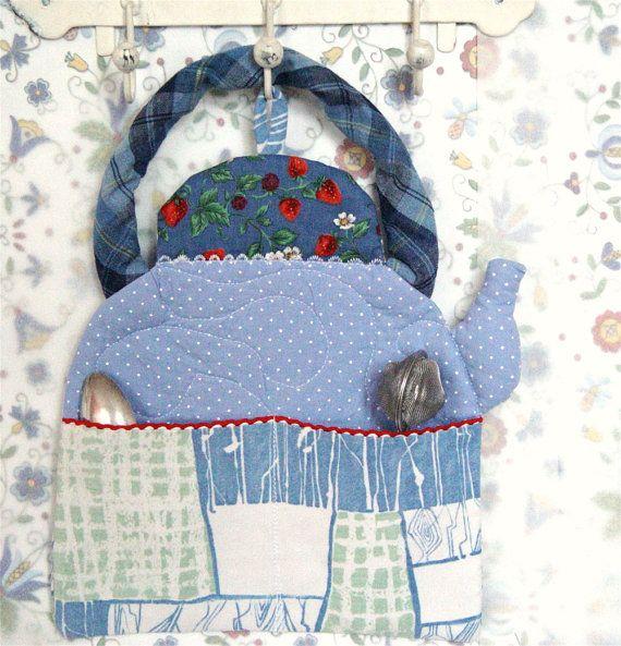 ... Pocket, Kitchen Decor, Wall Hanging, Bills Holder, blue kettle $35.00