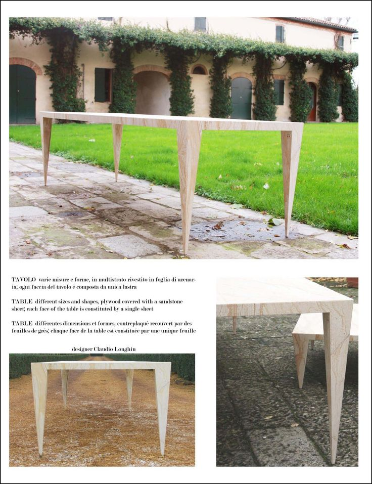 Table Space Sandstone Table Measures: 200 x 90 x 5 cm; plywood covered with a sandstone sheet; each face of the table is constituted by a single sheet.