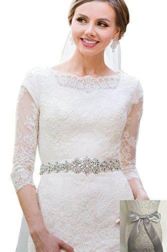 Rhinestone Wedding Sashes For Bridal Luxurious Cream
