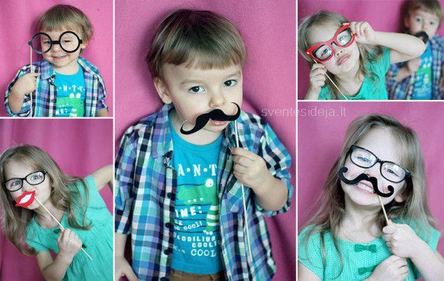 Popieriniai ūsai ir lūpos ant pagaliuko Photo props, photo booth, mustache, glasses, lips