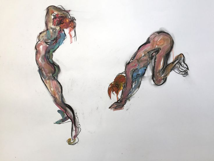 Two Studies of a Female with Orange Hair, by Mick Connolly.  Acrylic and charcoal on paper, 59cm x 84cm (framed)  #painting #drawing #lifedrawing #female #figure #nude #nudewerks #mickconnolly #atelier451 #ormond