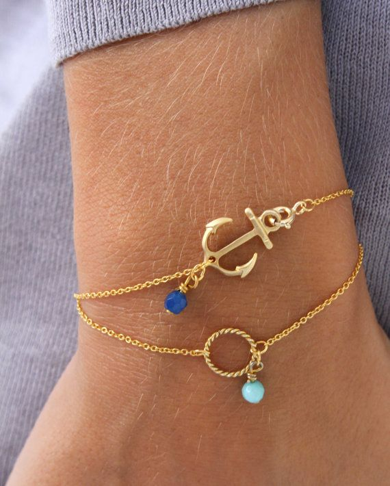 Anchor Bracelet Blue pendant bracelet by lizaslittlethings