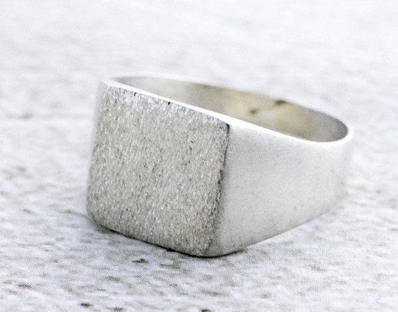 Men's Signet Ring, Unisex Signet Ring, Sterling Silver Ring, Women's & Men's Jewelry, Square Brushed Seal Ring, Valentine's Gift for Him