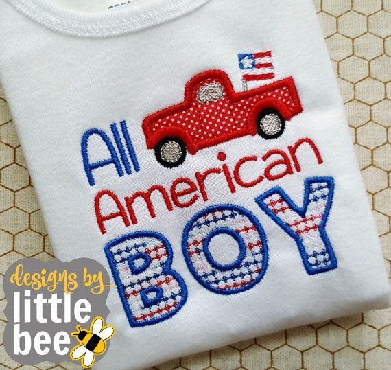 **THIS IS NOT A PATCH, SHIRT, OR A PHYSICAL ITEM.** This is a design to be used with an embroidery machine.  Make a beautiful outfit for just the right baby or kid with this adorable All American BOY embroidery design! Sizes included are 4x4 and 5x7. In both sizes, the TRUCK is an applique - all the rest of the design is just embroidery! The following formats are included in this listing: PES, DST, EXP, HUS, JEF, VIP, VP3, and XXX. Need another format? Message me and Ill try to help. You may…