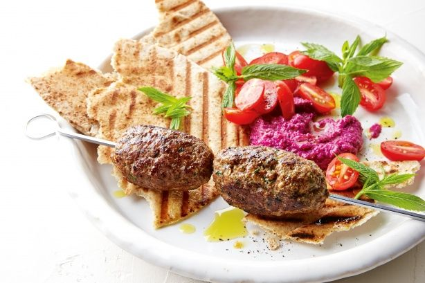 Lamb kofte with beetroot hummus