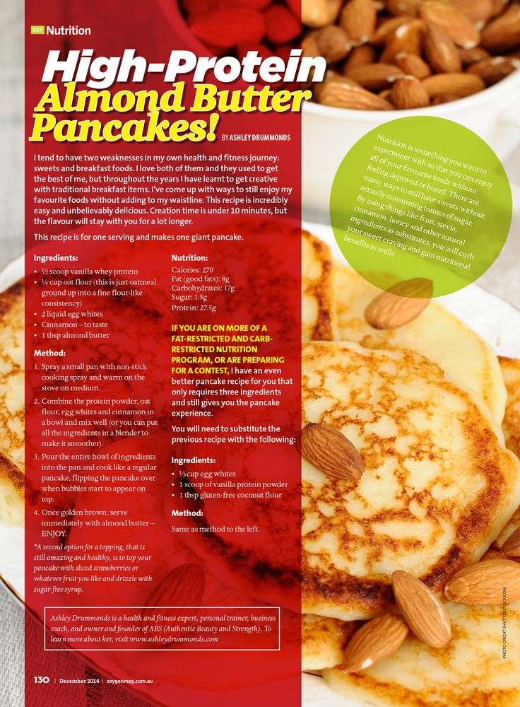 Check out this recipe in Oxygen Magazine for High Protein Almond Butter Pancakes. Click the picture for more awesome recipes and fitness tips for women!