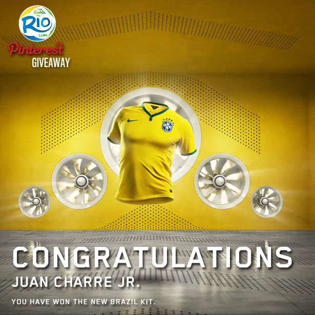 The winner of our Pinterest Brasil Shirt comp is Juan Charre Jr! Congrats Juan, can you please email your size & address to competitions@ prodirectsport.com. Thanks to everyone who entered, some great images showing why the World Cup is one of the best competitions across the globe! #prodirect #brasil #nike #worldcup #pdsgiveaway #football #soccer