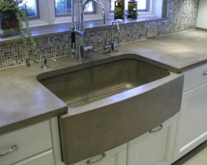 Concrete Counter And Farm Sink