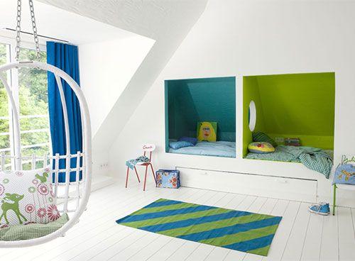 Verven: hoe begin je eraan? Welke kleuren mag je combineren en welke niet? Foto: www.colora.be (hangzetel • nis • kinderkamer)