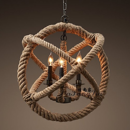 Wholesale High Quality American Retro Ceiling Fans Simple: The Rope Chandelier With Different Bulbs