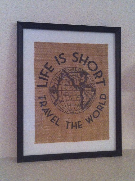 Travel art to inspire me to explore the world  Rustic burlap art Vintage travel ad life is by TheYellowDogShoppe, $20.00