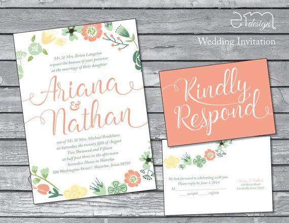 Floral Wreath Wedding Invitation Peach By EmDesignWedding