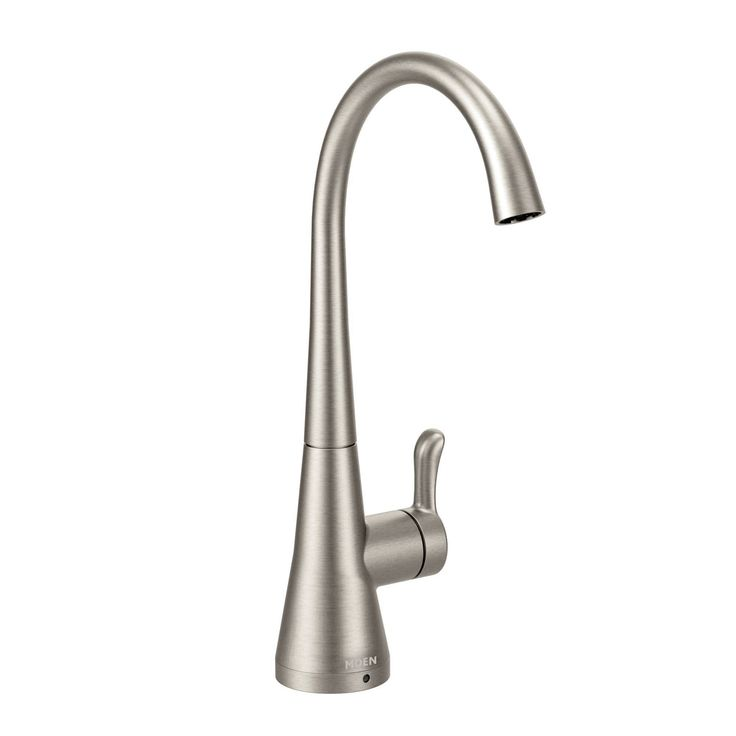 Give your kitchen sink a clean, finished look with this single-hole Moen Transitional bar faucet. The spot-resistant, stainless faucet has a one-handle lever to adjust the water pressure of the cold water.