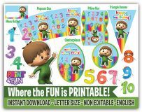 Charlie and the numbers, Party Printables, Party Decoration, Descarga Inmediata - Digital Papers and more!