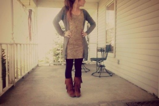 Fall Outfit: Long Cardi + Dress + Black Tights/Leggings + Minnetonka 3-layer fringe boots