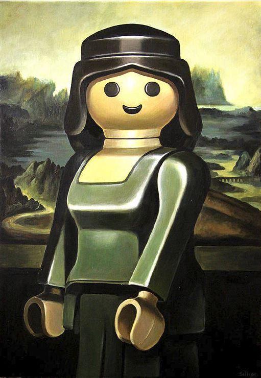 lego mona-lisa-leonard-de-vinci. vreemde combinatie van landschap met 'vrouw' die poseert.