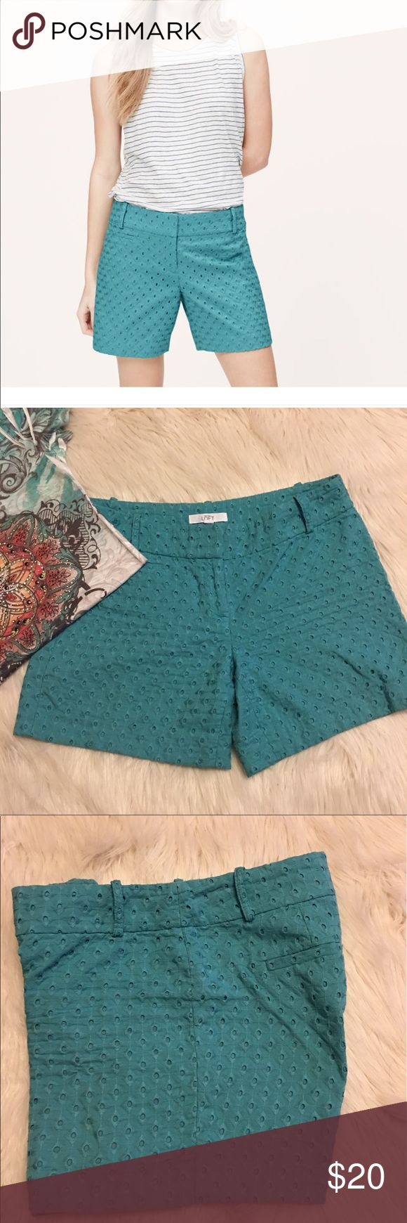 Ann Taylor LOFT Riviera Eyelet Shorts Size 4, in good condition, LOFT Diamond Eyelet Riviera shorts, color Deep Teal LOFT Shorts
