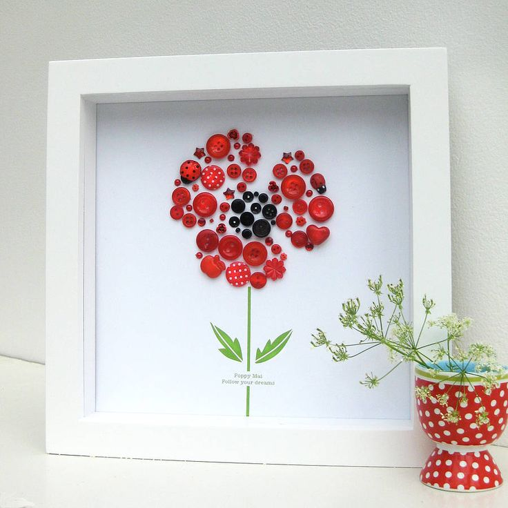 personalised baby girl button poppy artwork by sweet dimple | notonthehighstreet.com